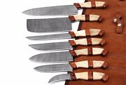 Beautiful 7 Pcs Handmade Damascus Steel Chef Kitchen Knife Set With Leather Case