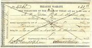 Texas C.s.a. State Treasurer Of Tw-64a 31.66 Protect Frontier Jan 1 1862 Vf+