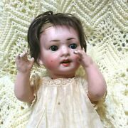 Antique German Jointed Hard Body Sleepy Eyed Baby Doll 13 Original Clothes