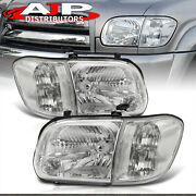 Chrome Clear Head Lights Bumper Lamps Lh+rh For 2005-2007 Toyota Tundra Sequoia