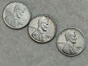 1943 P D S Lincoln Steel Wheat Cent Penny Set Of 3 Coins Lot 02
