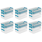 Sterilite 1413 Convenient Home 3-tiered Stack Carry Storage Box Clear 6 Pack