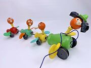 Vintage Fisher Price Wooden Gabby Goofy Duck Family Pull Toy