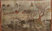 Antique Pictorial Samarkand Bird Design Vegetable Dye Hand-knotted Area Rug 5x8