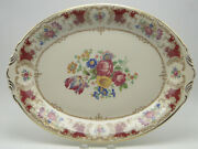 Syracuse China Old Ivory Romance Maroon Oval Platter 16x11andfrac34 Floral Gold Trim