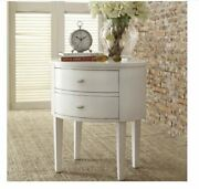 White 2 Drawer Oval Poplar Wood Accent Table Durable Cheap Bed Room Night Stand