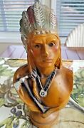 Exceptional 1930-40and039s Indian Chief Carnival Chalkware Bank W/ Lots Of Glitter