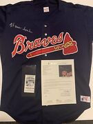 Warren Spahn Signed Authentic Rawlings Braves Jersey Jsa Loa And Card Show Ticket