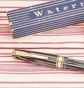 Vintage Watermanand039s W5 Executive Blue Striped Deluxe Fountain Pen Boxed+guarantee