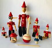5 Pinocchio Wood Doll Figures + Pencil Sharpeners And Bottle Stopper Vintage Italy