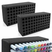 2 Art Marker Pen Organizer Tray Stands Durable Fits Copic Horizontal Holds 72