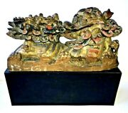 Chinese Carving Temple Dragon Lion Foo Dog Fu And Warriors Wood Antique Statue