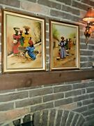 Vintage Rare Antique African Art Oil Paintings Mid Century Signed