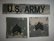 3 Us Army Acu Camo Patches U.s. Army Pocket Tape + Pair Of Sergeant Rank