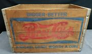 Vintage Wooden Mid Century Pepsi Crate Nickel Drink Worth A Dime Great Logos
