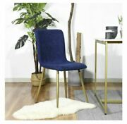 Dark Blue Gold Mid-century Modern Upholstered Dining Side Chairs Set Of 4 Cheap