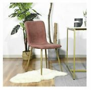 Coral Red Gold Mid-century Modern Upholstered Dining Side Chairs Set Of 4 Cheap