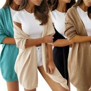 Women Mid-length Casual Knit Solid Lazy Cardigan Coat Jacket Outerwear Sweater