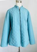 Chicoand039s Nwt Size 2 Fountain Blue Quilted Jacket Zip Up Mandarin Collar Pockets