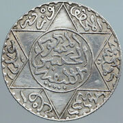 1882 Morocco Sultan Hassan I With Star Antique Silver 2 1/2 Dirhams Coin I88090