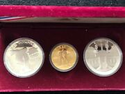 Olympic 1984-w 10 Gold 1983 And 1984 1 Silver, 3 Piece Proof Commemorative Set