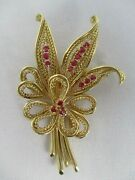 Antique Estate Signed Kabra 14k Yellow Gold W Rubies Leaf Brooch Pin 2 3/4