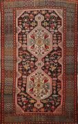 Antique Tribal Geometric Abadeh Hand-knotted Area Rug Wool Oriental Carpet 4and039x7and039