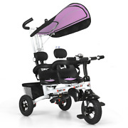 Functional Twins Kids Baby Stroller Tricycle Detachable Learning Toy Bike Multi