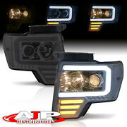[led Tube Drl Bar And Signal] Smoked Projector Head Lights Lamp For 2009-2014 F150