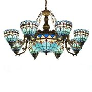Baroque Stained Glass Lamp Large Chandelier Room Ceiling Light Fixture