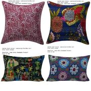 Set Of 100 Pillow Vintage Kantha Covers Indian Bohemian Cushion Cover All Size