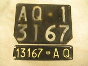 2x Italy L'aquila 1967 Vintage Aq 13167 Rare License Plates And Documents