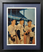 Mantle Ford And Martin Autographed Framed 8x10 Wood Photo Yankees Beckett Aa00294