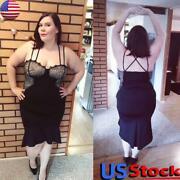 Plus Size Women Sleeveless Sling Dresses Sexy Evening Party Bodycon Ball Gown Us