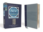 Niv Personal Size Study Bible Soft Leather-look Navy/blue Red Letter Brand New