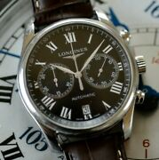 Longines Master Collection Chronograph Stunning Roman Black Dial Watch Box And Pap