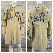 Bagatelle Size 10 Leather Coat Tan Floral Embroidered Jacket Bird Gorgeous