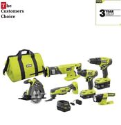 Ryobi One Set Cordless Best 6 Power Tool Combo Kit Battery Charger Drill Driver