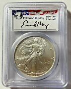 2007 W .999 Silver American Eagle Burnished Sp70 Pcgs Flag Signed Director E Moy