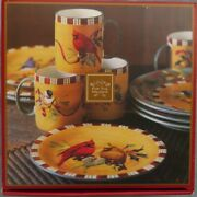 12 Pc Set For 4, Lenox Winter Greetings Everyday W Different Birds New With Tags