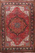 Vintage Vegetable Dye Heriz Area Rug Geometric Oriental Hand-knotted Wool 8and039x11and039