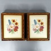 2 Vintage Wooden Boxes Floral Picture Lid Mirrored Jewelry Sewing Trinket Box