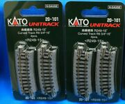 Lot Of 2 - N Scale Kato Unitrack 20-101 Curved Track R9 3/4 - 15° - 4pcs/pack
