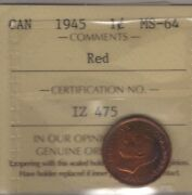 1945 Canada Small Cent Coin.1 Penny Red Iccs Ms-64