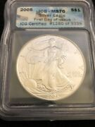 2005 Silver American Eagle Icg Ms70 First Day Of Issue Free Shipping