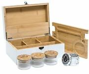 Extra Large Bamboo Stash Box Combo With 2.5 4-piece Herb Grinder 3 White