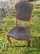 Antique Louis Xv Style Embossed Leather Walnut Dining Side Chair