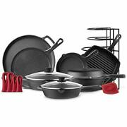 Cast Iron Cookware 11-pc Set - 8 Skillet + 10 + 12 Skillets With Glass Lid +