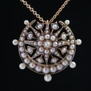 Antique Genuine Victorian Natural Pearls Crescent Moon And Star Brooch Pendant
