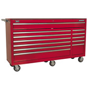 Sealey Ap6612 Rollcab Tool Box 12 Drawer Red Ball Bearing Runners Extra Wide